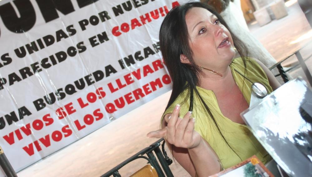 Rueda de prensa del FUNDEM, en la foto Brenda Rangel, vocera de la organización. Foto: Ketzalkoatl
